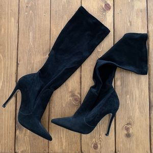 Real suede stiletto knee high boots
